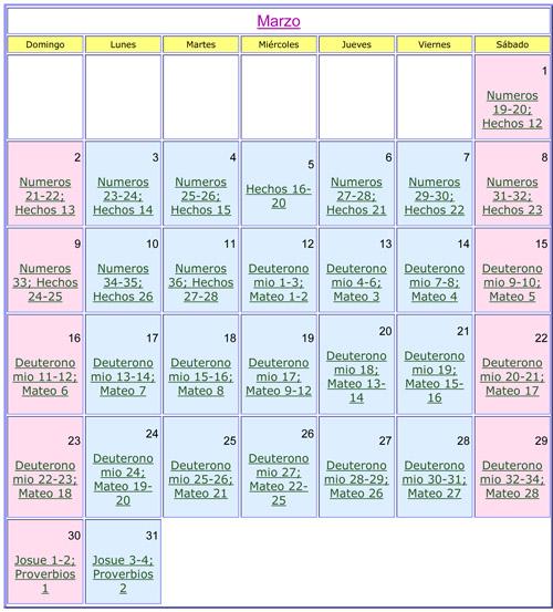 Marzo Calendario.Calendario Biblico Del Mes De Marzo Del 2014