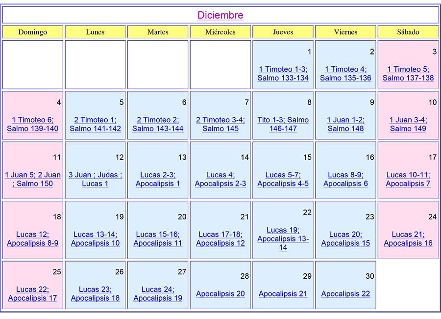 Calendario Bíblico de Diciembre del 2016