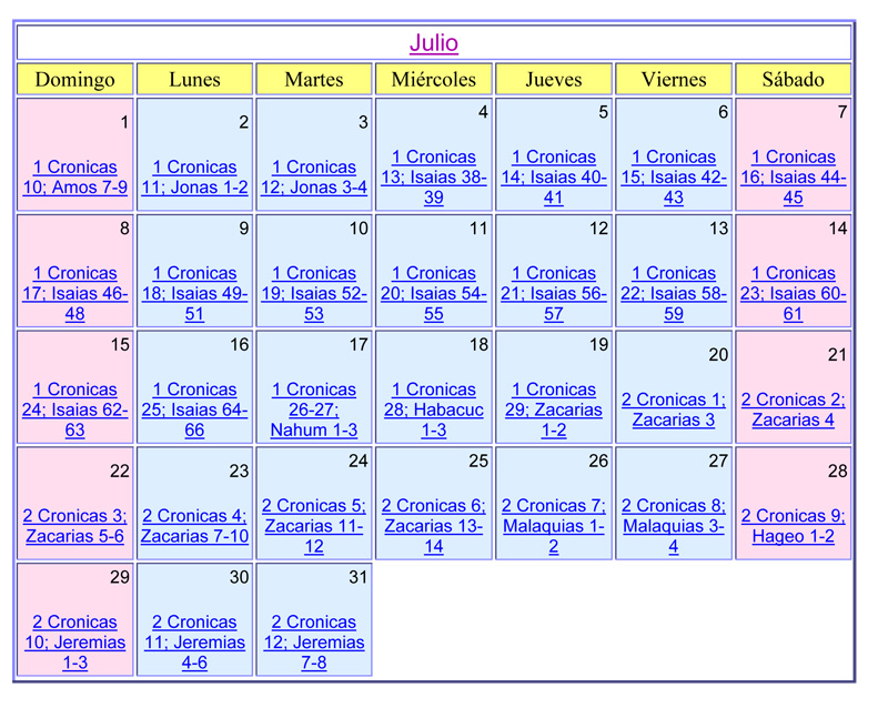Julio Calendario.Calendario Biblico De Julio Del 2018 Aguilas Centro Familiar Cristiano